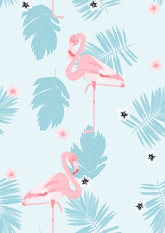 Pink flamingo with tropical leaves floral seamless pattern