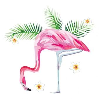 Розовый фламинго с тропическими растениями и цветами пляжа