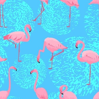 Pink flamingos in different poses. seamless summer tropical pattern.