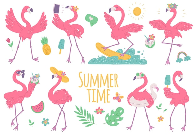Pink flamingos summer set with with ice cream, on surfboard and wearing sunglasses. african birds cartoon flat illustration.