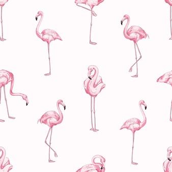 ピンクのフラミンゴはシームレスなパターンをベクトルします。美しい熱帯の鳥の背景。明るい動物園の住民のテクスチャ。エキゾチックなジャングルの動物相の背景。クリエイティブな壁紙、テキスタイル、包装紙のデザイン。