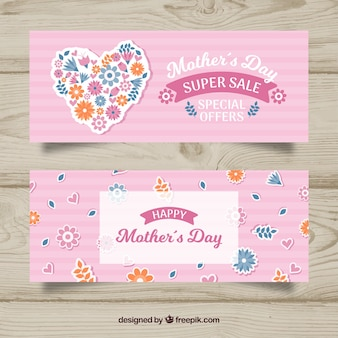 Pink flat banners for the mother's day