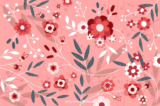 Pink flat beautiful floral background