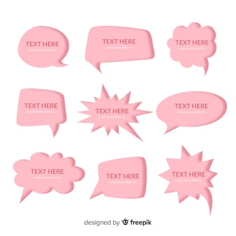 Pink flat design speech bubbles in paper style