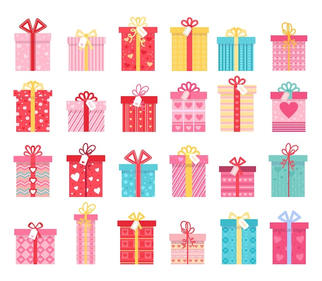 발렌타인 데이와 결혼 선물을 위한 분홍색 평면 선물 상자. 리본 활과 하트 패턴이 있는 사랑 선물 상자. 래핑된 현재 벡터 집합입니다. 멋진 휴가를 위한 밝은 축제 용기