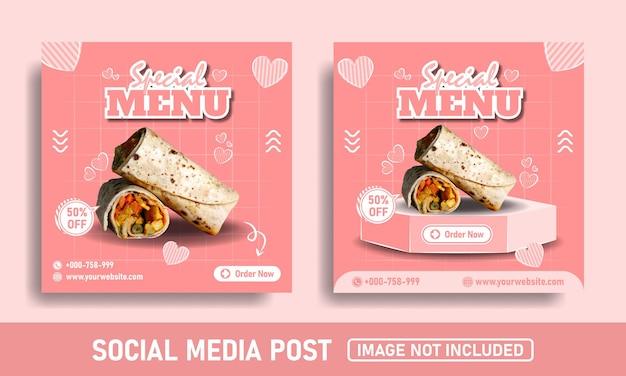 핑크 플래이어 또는 케밥 음식 소셜 미디어 홍보 및 인스 타 그램 디자인 템플릿 프리미엄 벡터