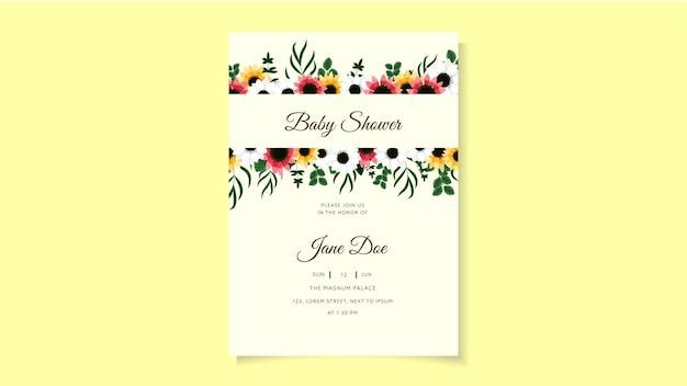 ピンクの花のベビーシャワーの招待カードのデザインテンプレートベビーシャワーの招待レイアウト