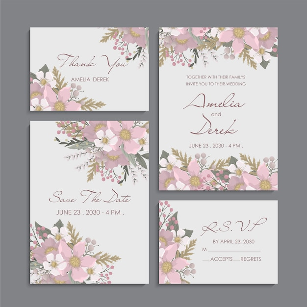 Pink floral background - wedding invitation set