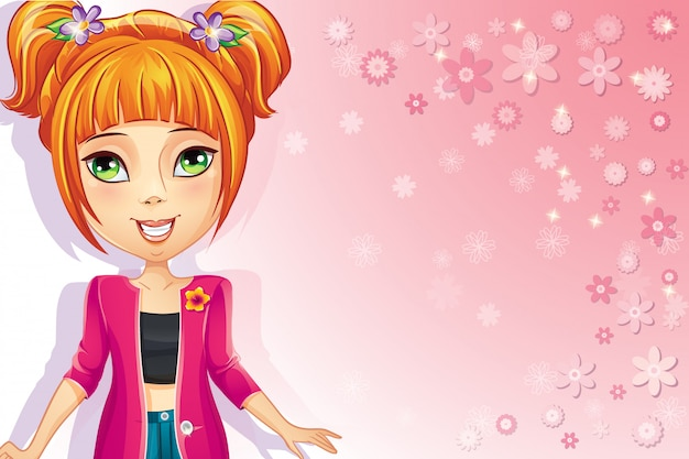 十代の少女とピンクの花の背景。