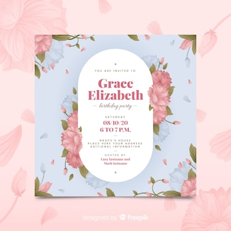 Pink floral birthday invitation template