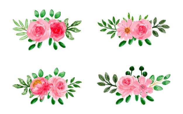 水彩でピンクの花の花束コレクション