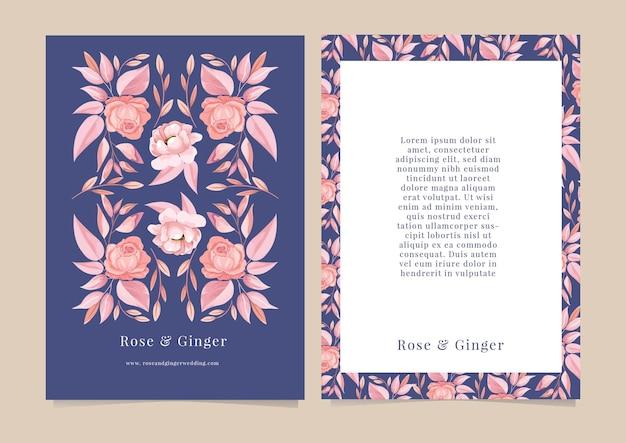 Розовый цветочный дизайн для карты, календаря, приглашения, заметки, баннера.