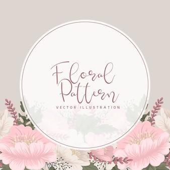 Pink floral   flower circle