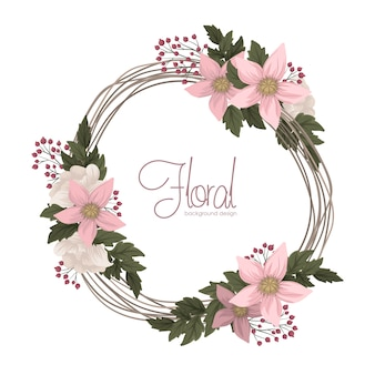 Pink floral   flower wreath