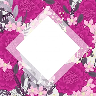 Pink floral frame background vector