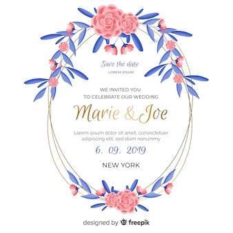 Pink floral frame with blue leaves wedding invitation