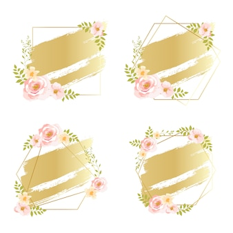 Pink floral frames with gold gradient watercolor effect
