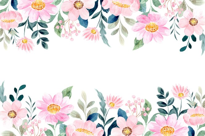 Pink floral garden background with watercolor