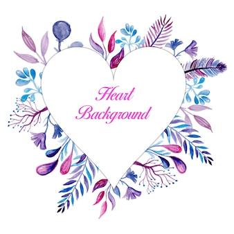 ピンクの花の心のフレームの背景