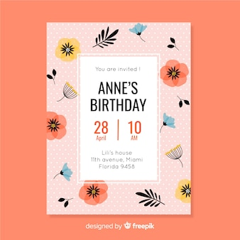 Pink floral invitation for children birthday