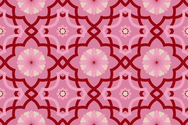Pink floral modern moroccan ethnic geometric tile art oriental seamless traditional pattern. design for background, carpet, wallpaper backdrop, clothing, wrapping, batik, fabric. vector.