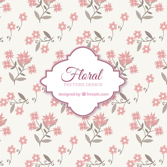 Pink floral pattern background with flat design