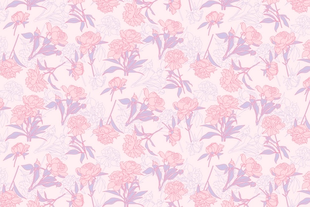 Pink floral pattern background Premium Vector