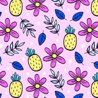 Розовый цветочный узор с ананасами