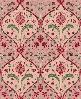 Pink floral pattern with pomegranate. seamless filigree ornament.