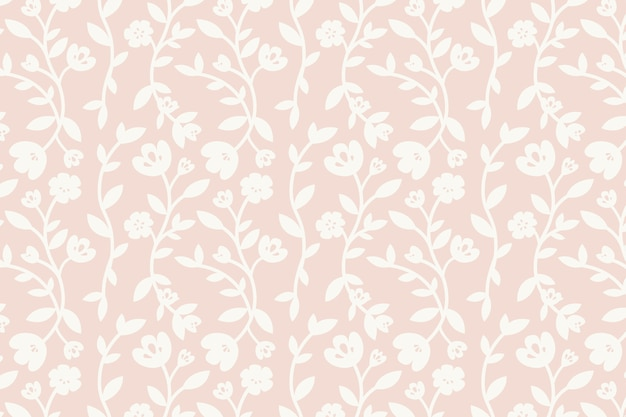Pink floral patterned background vector