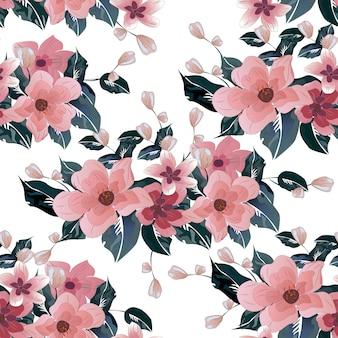 ピンクの花柄、花のシームレスパターン