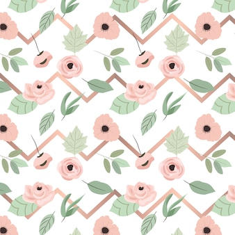 Pink floral and rose gold chevron seamless pattern