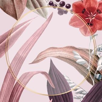 ピンクの花のラウンドフレームベクトル