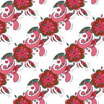 Розовый цветочный бесшовный фон - векторная текстура с цветком