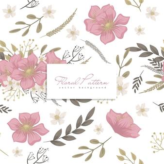 ピンクの花柄のシームレスパターン