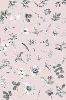 핑크 꽃 벽지 디자인 벡터