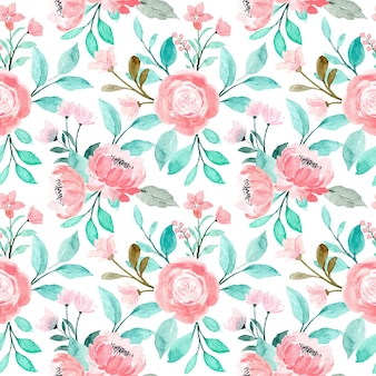 Pink floral watercolor seamless pattern with green leaves