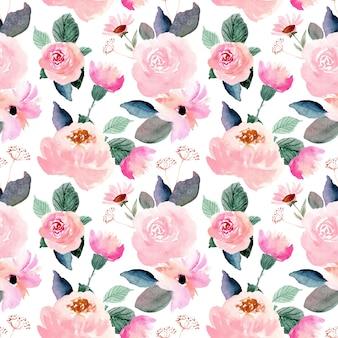 Розовая цветочная акварель бесшовный фон
