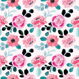Розовый цветочный акварель бесшовные модели