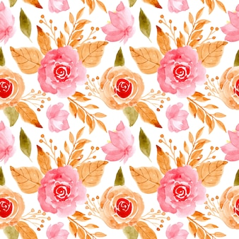 Pink floral watercolor seamless pattern