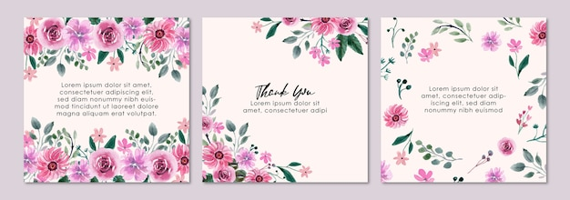 Pink floral watercolor square template suitable for social media content