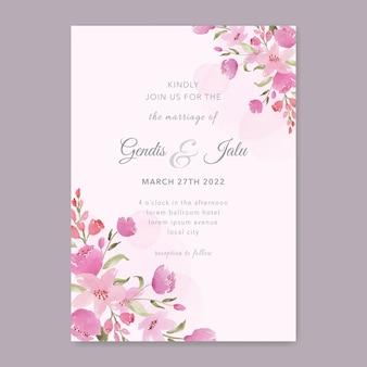 핑크 꽃 수채화 결혼식 초대장 템플릿