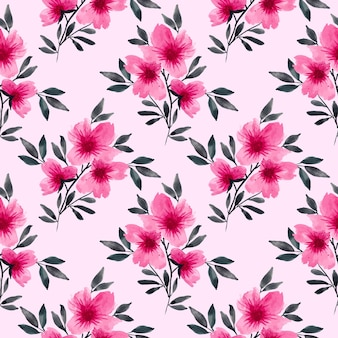 Pink floral watercolour repeat pattern