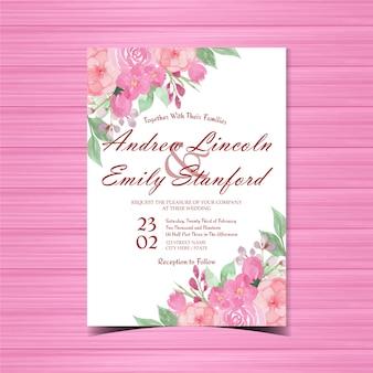 핑크 꽃 결혼식 초대 카드