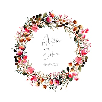Pink floral wreath with watercolor