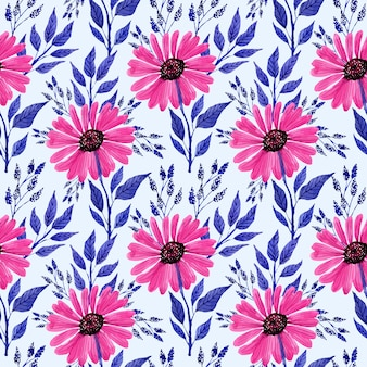 Pink florals watercolor seamless pattern