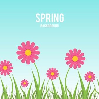 하늘색 봄 배경으로 핑크 꽃과 잔디의 블레이드