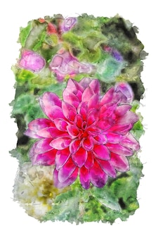 핑크 꽃과 녹색 배경 수채화