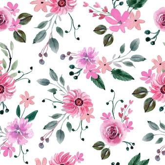 Розовый цветок и зеленые листья акварель бесшовный фон