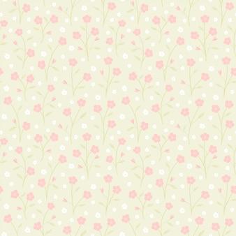 ピンクの花と葉の小さな枝のシームレスなパターンベクトル花の背景